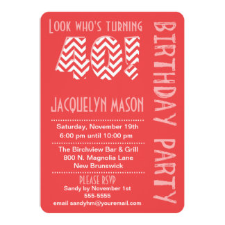 Coral Look Who's Turning 40 Birthday Invitation