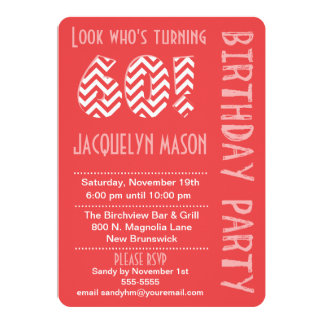 Coral Look Who's Turning 60 Birthday Invitation