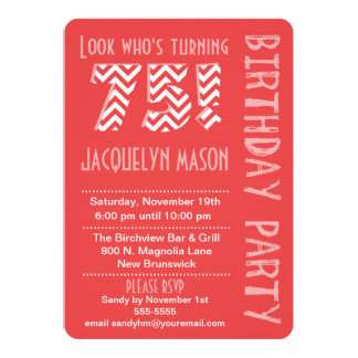 Coral Look Who's Turning 75 Birthday Invitation