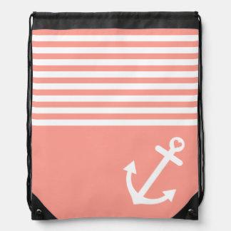 Coral Love Anchor Nautical Drawstring Backpack