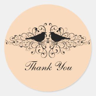 Coral Love Bird Swirls Thank You Stickers