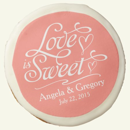 Coral Love is Sweet Personalized Wedding Favor Sugar Cookie
