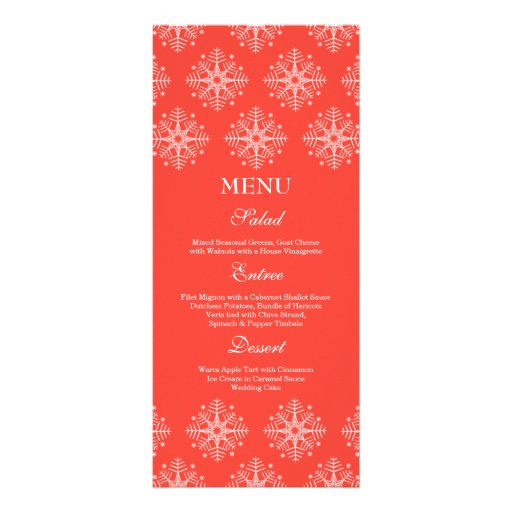 Coral + menú blanco de la comida del boda del invi tarjeta publicitaria