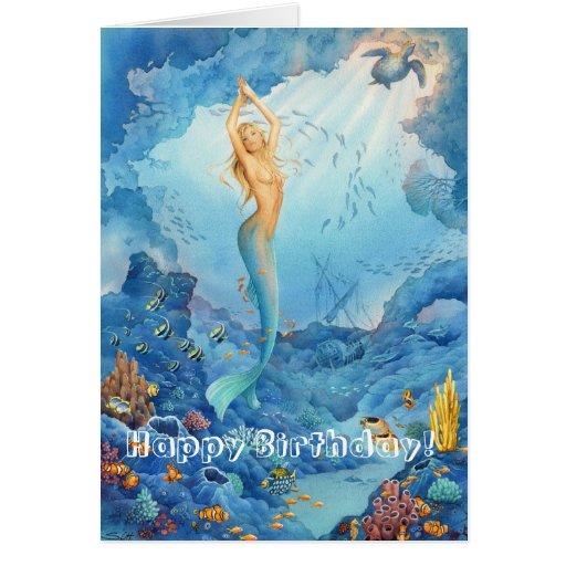 'Coral Mermaid' Birthday Card   Zazzle