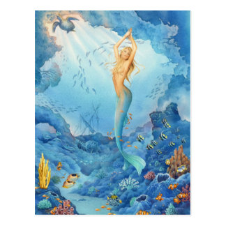 """""""Coral"""", Mermaid, Dolphins, Fish and Shipwreck Postcard"""