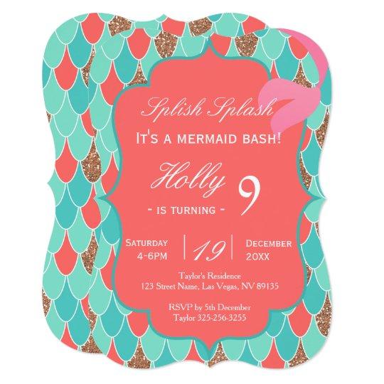 Coral Mermaid Tail Birthday Invitation