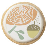 """Coral Mint and Avocado Rose Acorn Special Event""""Co Round Premium Shortbread Cookie"""