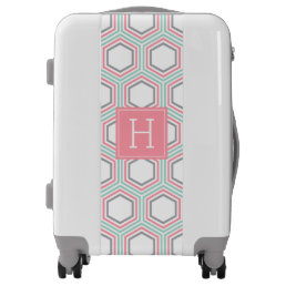 Coral Mint and Gray Geometric Pattern and Monogram Luggage