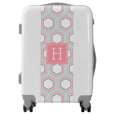 heartlocked Coral Mint and Gray Geometric Pattern and Monogram Luggage