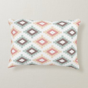 Aztec Themed Coral & Mint Aztec Throw Pillow