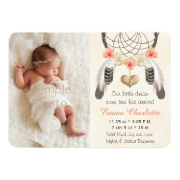 Toddler & Baby themed Coral Mint Boho Dreamcatcher Birth Announcement