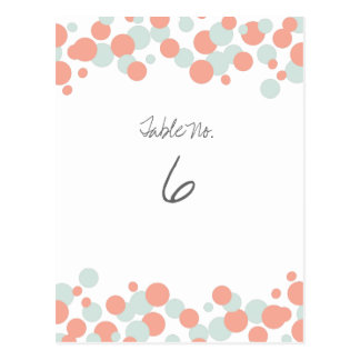 Coral & Mint Bubbles Confetti Table Number Cards Post Cards