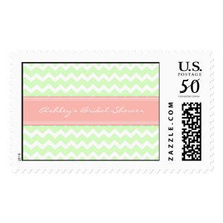 Coral Mint Chevron Bridal Shower Wedding Stamps