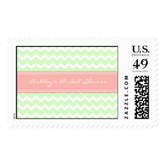 Coral Mint Chevron Bridal Shower Wedding Stamps