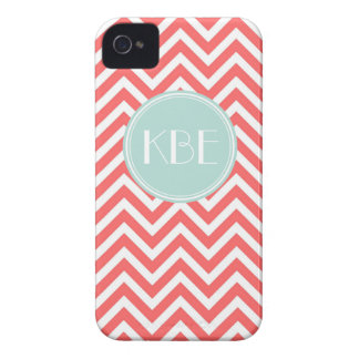 Coral Mint Chevron Custom Monogram Case-Mate iPhone 4 Case