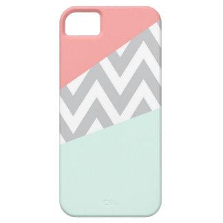 Coral & Mint Color Block Chevron iPhone 5 Cases