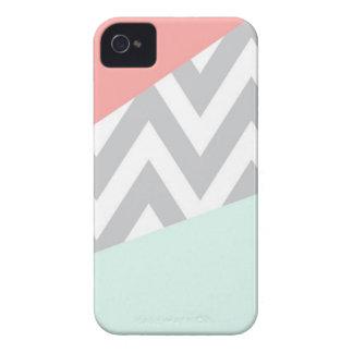 Coral & Mint Color Block Chevron iPhone 4 Cases