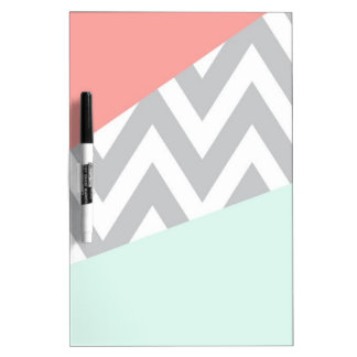 Coral & Mint Color Block Chevron Dry-Erase Board