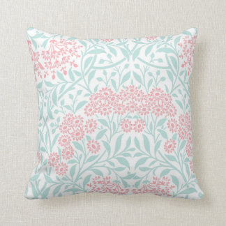 Coral Mint Floral Damask Pattern Throw Pillow