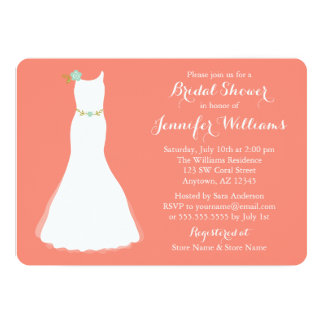 Coral Mint Floral Wedding Gown Bridal Shower 5x7 Paper Invitation Card