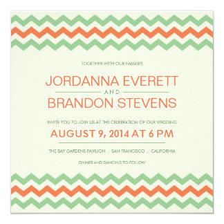 """Coral Mint Green Chevron Wedding ZigZag Invitation 5.25"""" Square Invitation Card"""