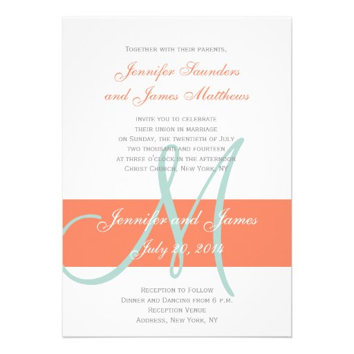 Coral Mint Green Monogram Names Simple Wedding Cards