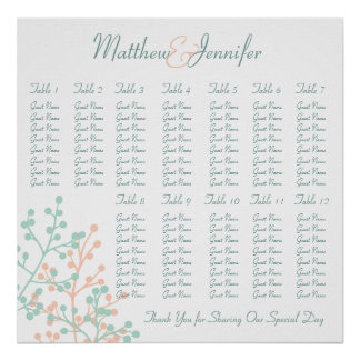 Coral Mint Green Wedding Reception Seating Chart Poster
