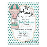 Coral & Mint Hot Air Balloon Baby shower Invitation