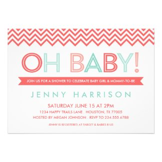 CORAL & MINT MODERN CHEVRON BABY SHOWER CARDS