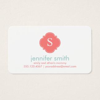 Coral Mint Quatrefoil Monogram Stripes Pattern Business Card
