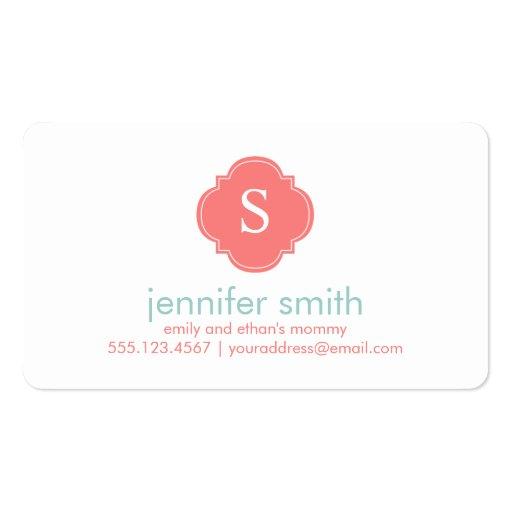 Coral Mint Quatrefoil Monogram Stripes Pattern Business Card Template