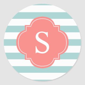 Coral Mint Stripes Pattern Monogram Classic Round Sticker