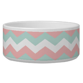 Coral Mint White Chevron Zigzag Dog Water Bowls
