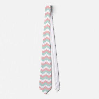 Coral Mint White Chevron Zigzag Tie