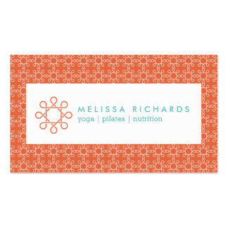 Coral/Mint Woven Design for Fitness and Yoga Business Card