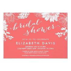 Coral Modern Floral Bridal Shower 5x7 Paper Invitation Card