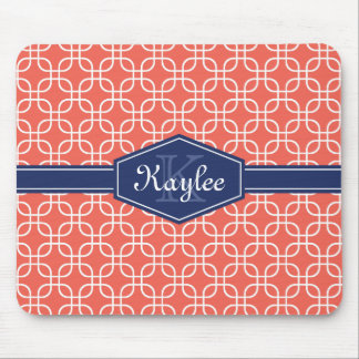 Coral Modern Square Pattern Blue Label Mousepads
