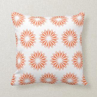 Coral Modern Sunbursts Throw Pillow