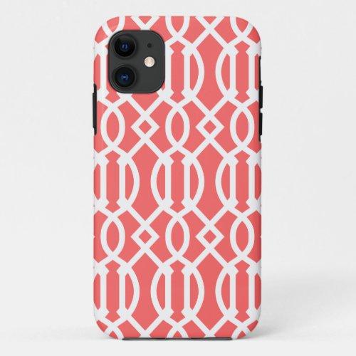 Coral Modern Trellis Pattern Phone Case