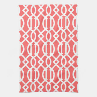 Coral Modern Trellis Pattern Hand Towel