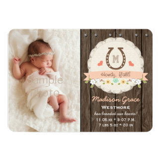 Coral Monogram Horseshoe Western Baby Announcement