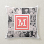 Coral Monogram Instagram Photo Collage Pillows