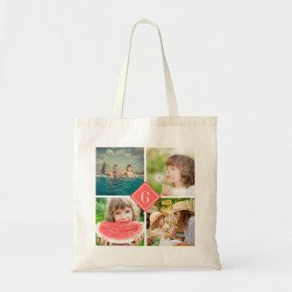 Coral Monogram Instagram Photo Collage Tote Bag