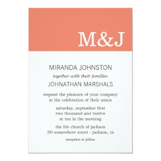 Coral Monogram Photo Wedding Invitations