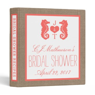 Beach Themed Coral Monogram Seahorse Beach Bridal Shower Recipe Binder