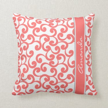 Coral Monogrammed Elements Print Pillows