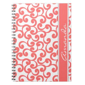 Coral Monogrammed Elements Print Spiral Notebooks