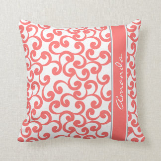 Coral Monogrammed Elements Print Throw Pillow