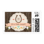 Coral Monogrammed Horseshoe Baby Girl Stamp