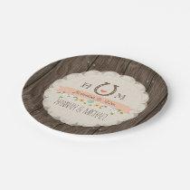 Coral Monogrammed Horseshoe Heart Wedding Paper Plate